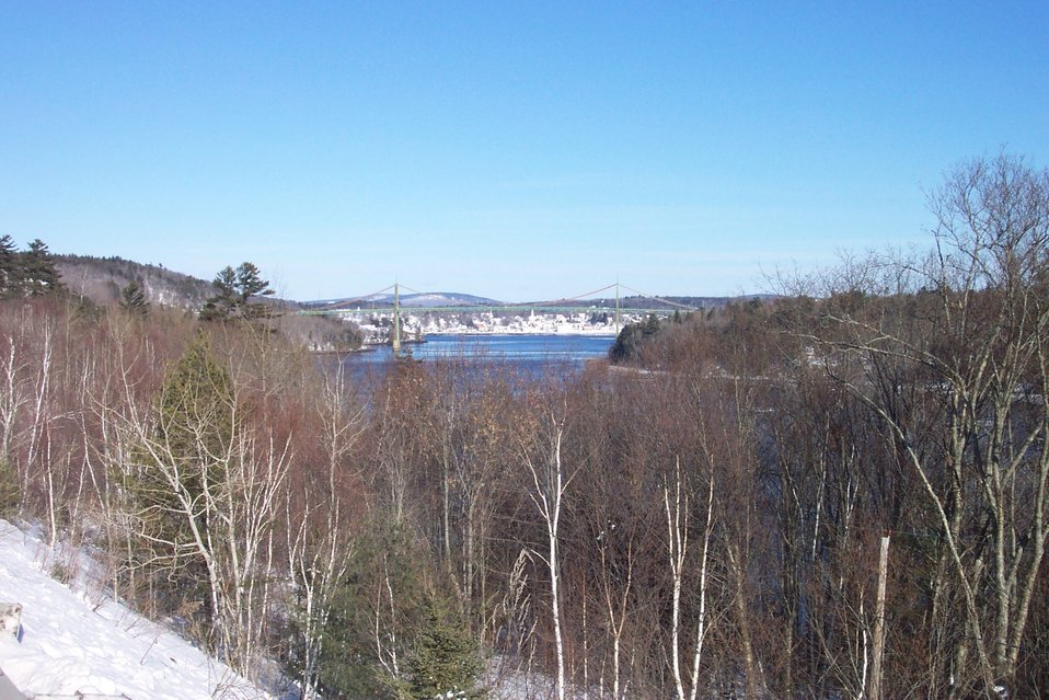The Waldo-Hancock suspension bridge with Bucksport in the background.