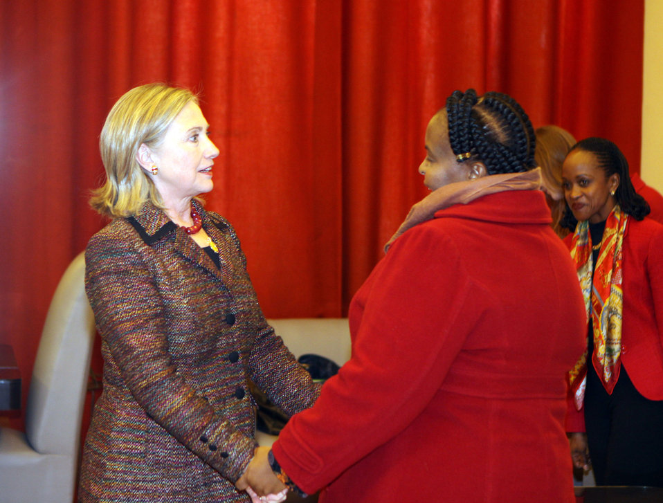 SouthAfrica-Bilat-1Secretary Clinton Shakes Hands With South African Foreign Minister Nkoane-Mashabane