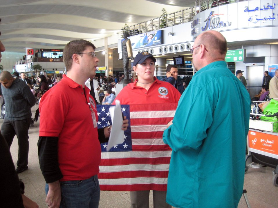 Embassy Cairo Officers Lenert and Adams Search for American Citizens at Cairo International Airport