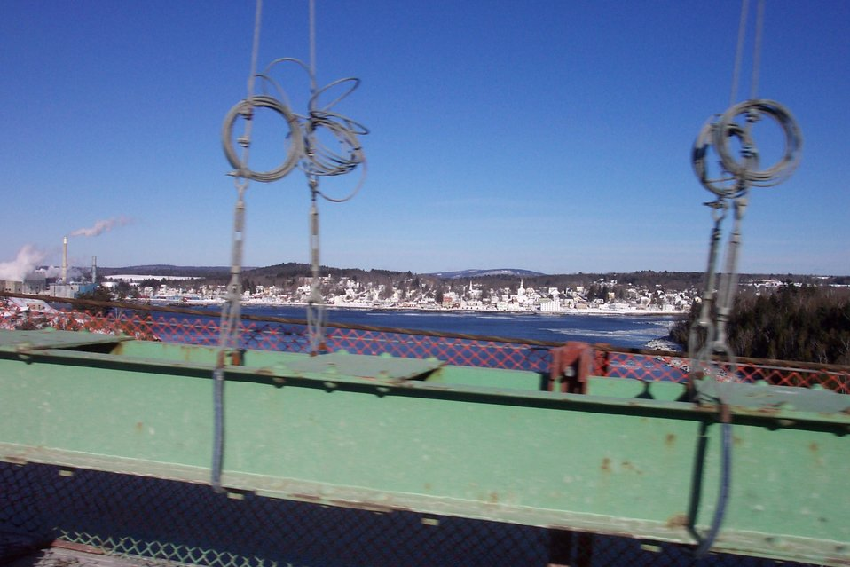 A view of Bucksport from the Waldo-Hancock suspension bridge across the Penobscot River.