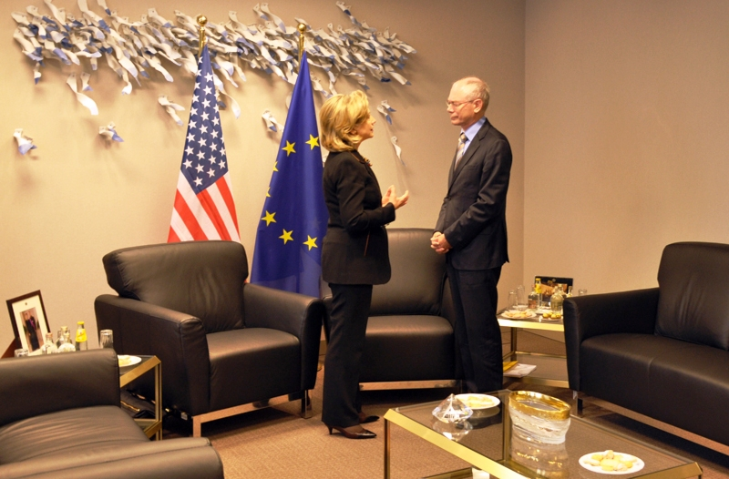 Secretary Clinton Meets With European Council President Herman Van Rompuy