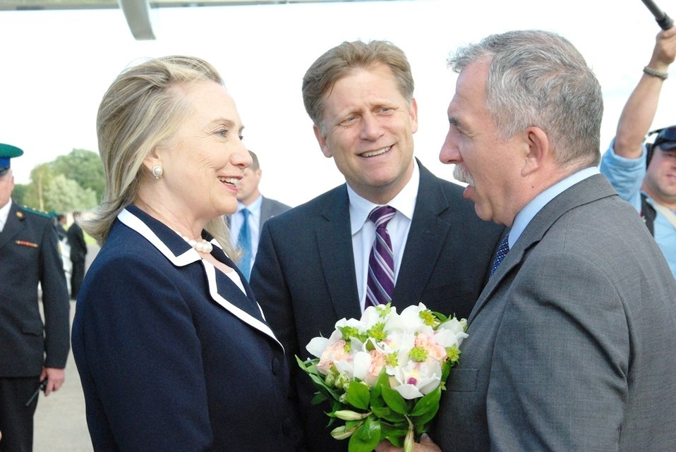 Secretary Clinton Is Greeted By Vice-Governor of St. Petersburg Markov
