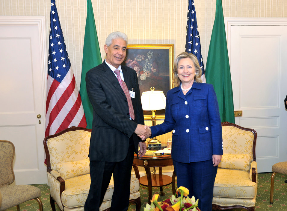 Secretary Clinton Shakes Hands With Libyan Foreign Minister Kousa