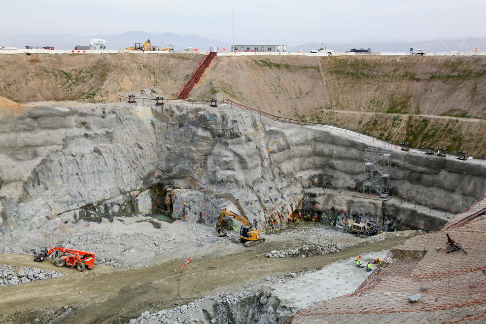 Excavation and rock reinforcement continues at Folsom Joint Federal Project