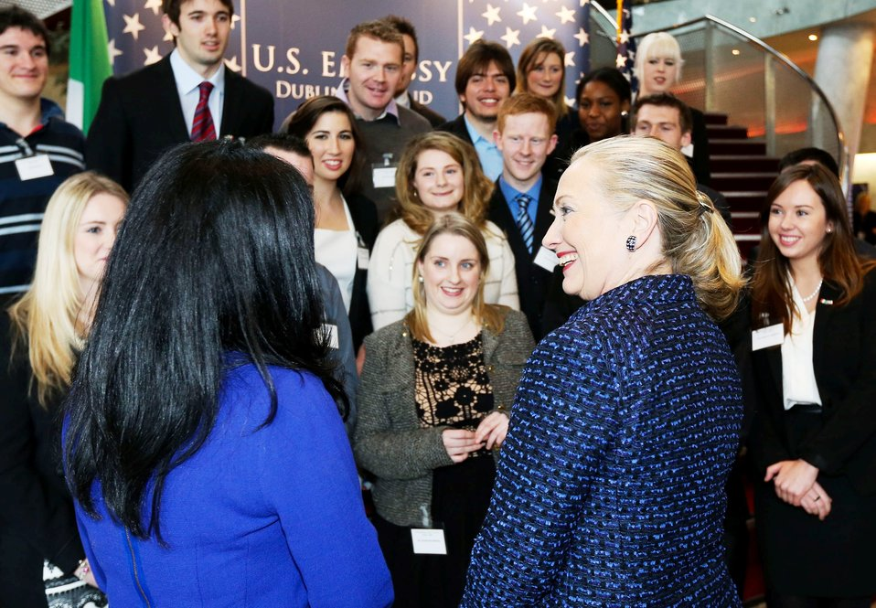 Secretary Clinton Speaks With Members of the Embassy Dublin Youth Council