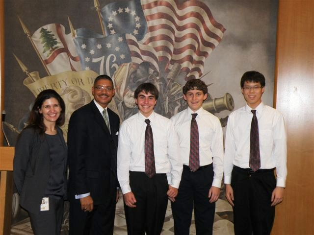 Deputy Director Beckett and Officer Petrillo Meet With Students Joshua Bowman, Joshua Larimer, Jae Seung (Jason) Lee