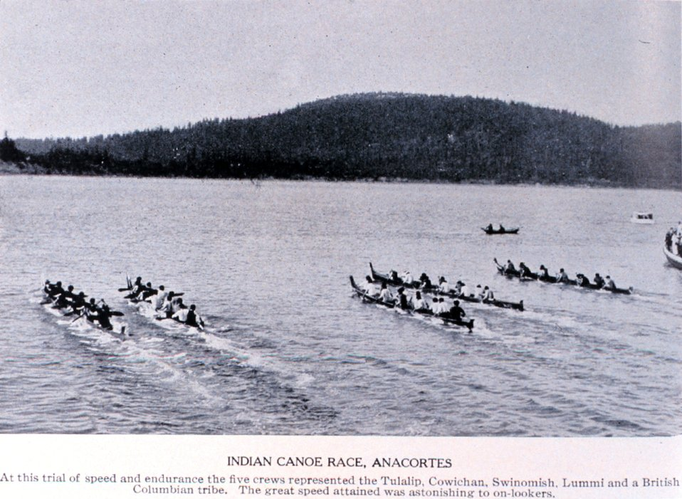 'Indian Canoe Races, Anacortes'. In:  'Puget Sound and Western Washington  Cities-Towns Scenery', by Robert A. Reid, Robert A. Reid Publisher, Seattle, 1912.  P. 108.