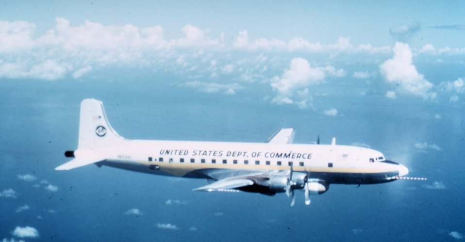 Weather Bureau DC-6 N6539C in flight.