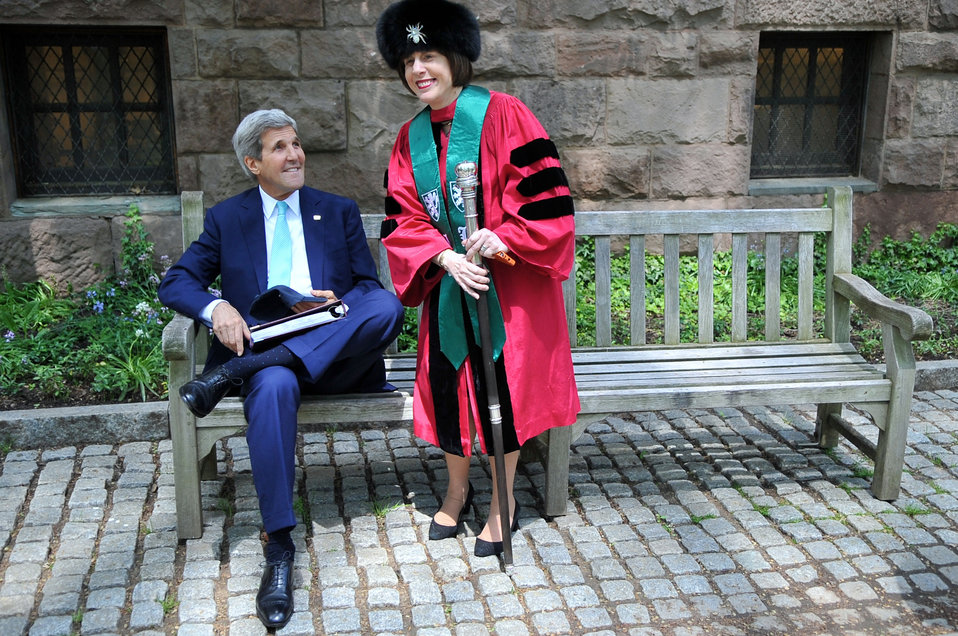 Secretary Kerry Confers With Jonathan Edwards Master Laurans Before Class Day Speech