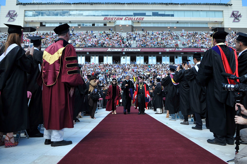 Secretary Kerry, President Leahy, Chairwoman McGillycuddy Arrive For Boston College Commencement