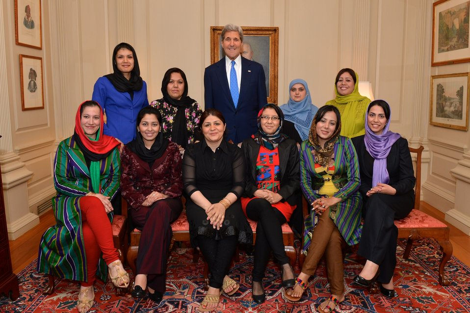 Secretary Kerry Poses for a Photo With Female Afghan Journalists