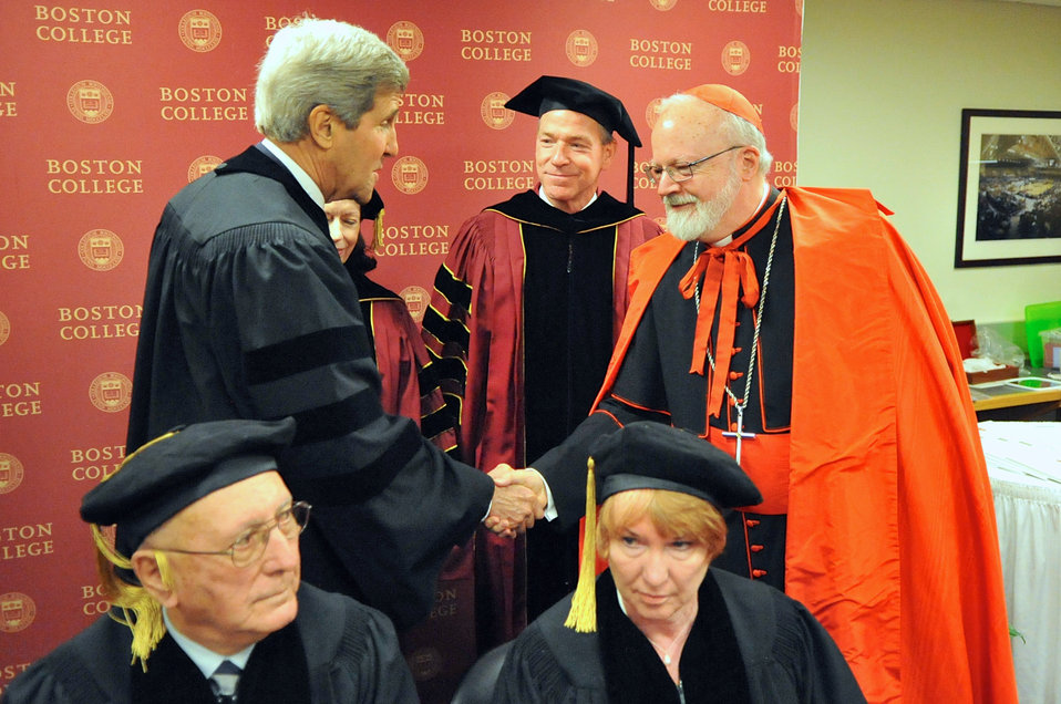 Secretary Kerry Greets Cardinal O'Malley Before Boston College Graduation