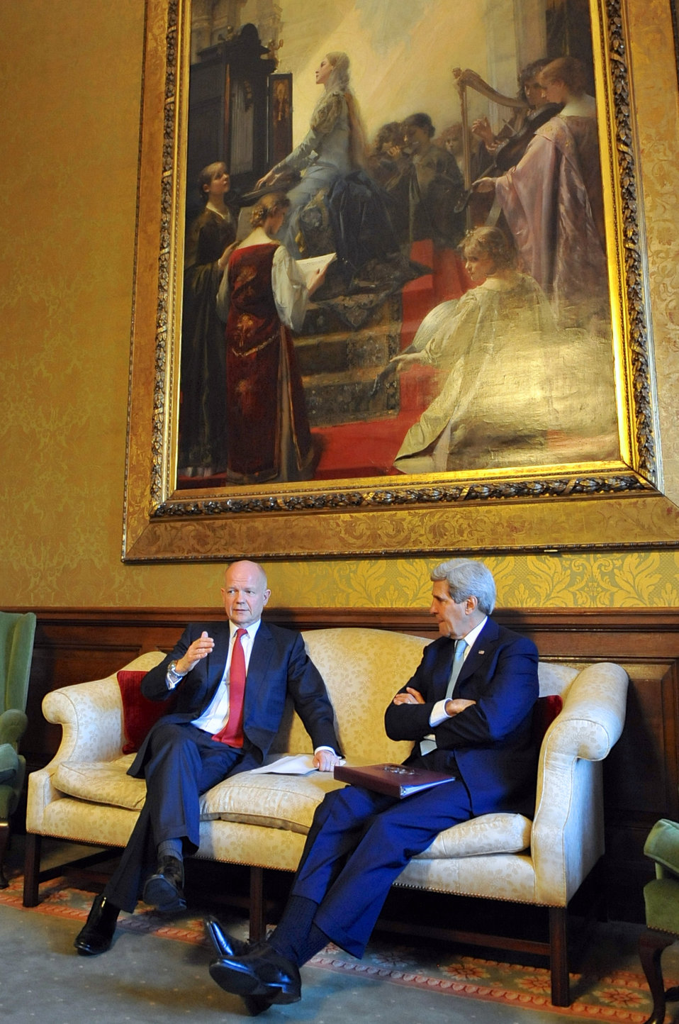 British Foreign Secretary Hague Chats With Secretary Kerry Before News Conference