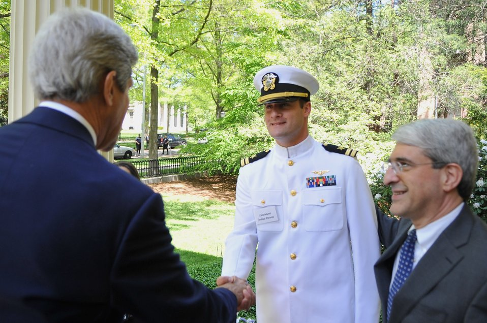 Secretary Kerry Shakes Hands With Navy Lieutenant Instructor at Yale University