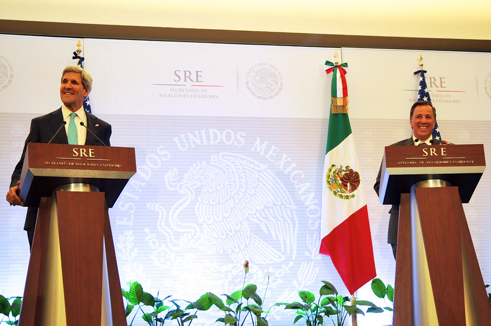 Secretary Kerry, Mexican Foreign Secretary Meade Laugh During Joint News Conference in Mexico City