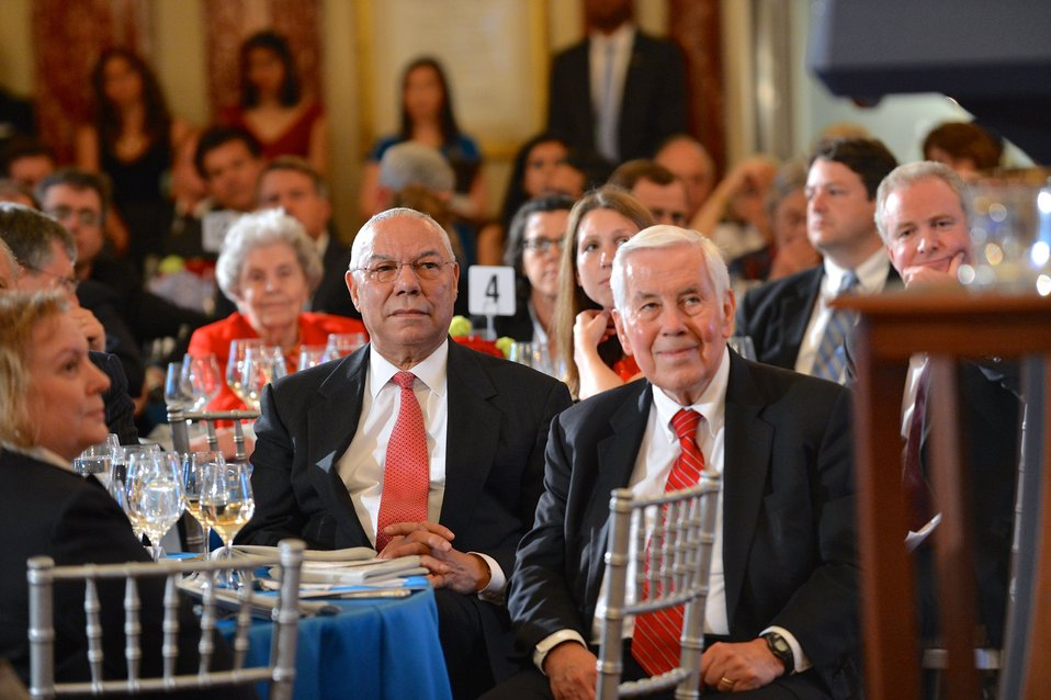 Former Secretary Powell and Former Secretary Lugar Listen to Secretary Kerry's Remarks at Celebration of 90th Anniversary of the U.S. Foreign Service