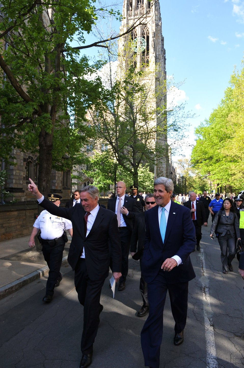 Secretary Kerry, Senior Advisor Thorne Walk Across Yale University Campus