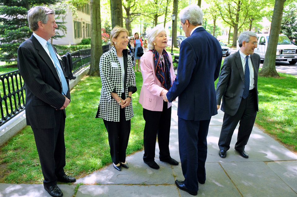 Former Massachusetts Justice Marshall at Yale University Greets Secretary Kerry
