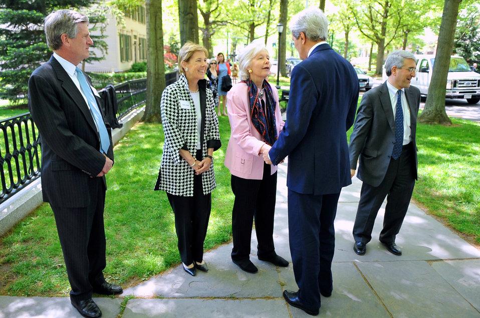Former Massachusetts Justice Marshall at Yale University Greets Secretary Kerry