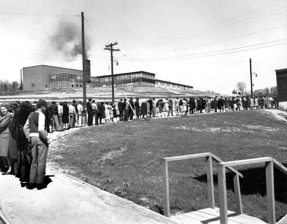 Line for Cigarettes at Williams Drug Store- Jackson Square 1945 Oak Ridge