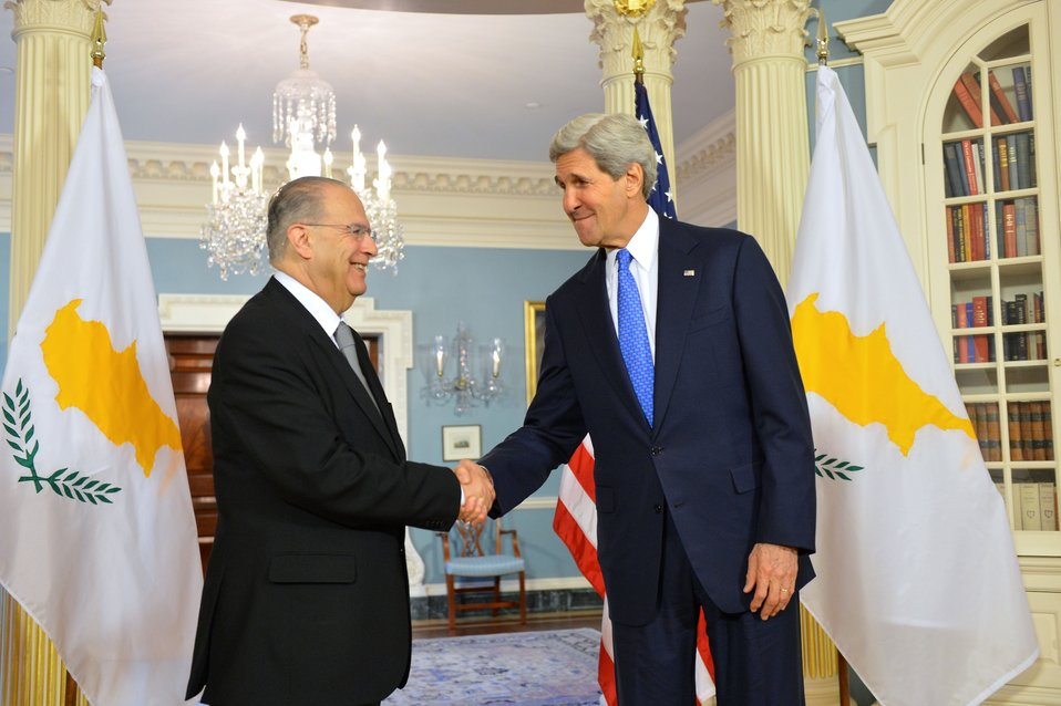 Secretary Kerry Shakes Hands With Cypriot Foreign Minister Kasoulides