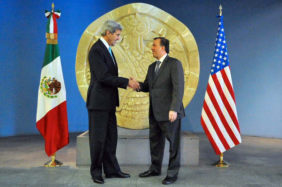 Secretary Kerry, Mexican Foreign Secretary Meade Pose Before Meeting in Mexico City