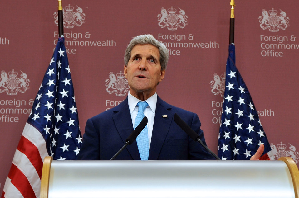 Secretary Kerry Holds a News Conference After London 11 Meeting on Syria in London