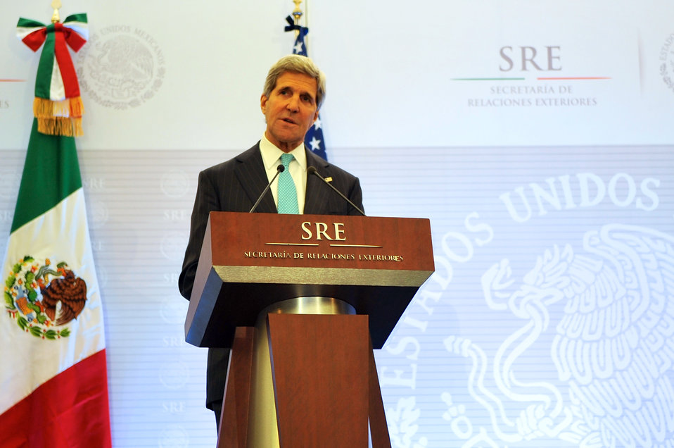 Secretary Kerry Speaks During Joint News Conference With Mexican Foreign Secretary Meade