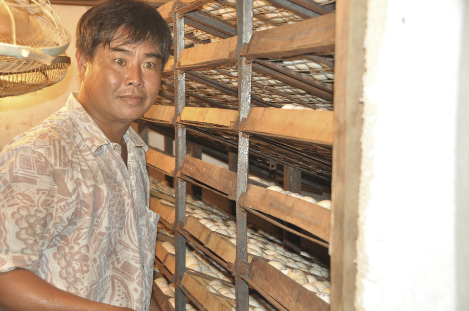 Mr. Thuong at his duck egg hatchery in Can Tho