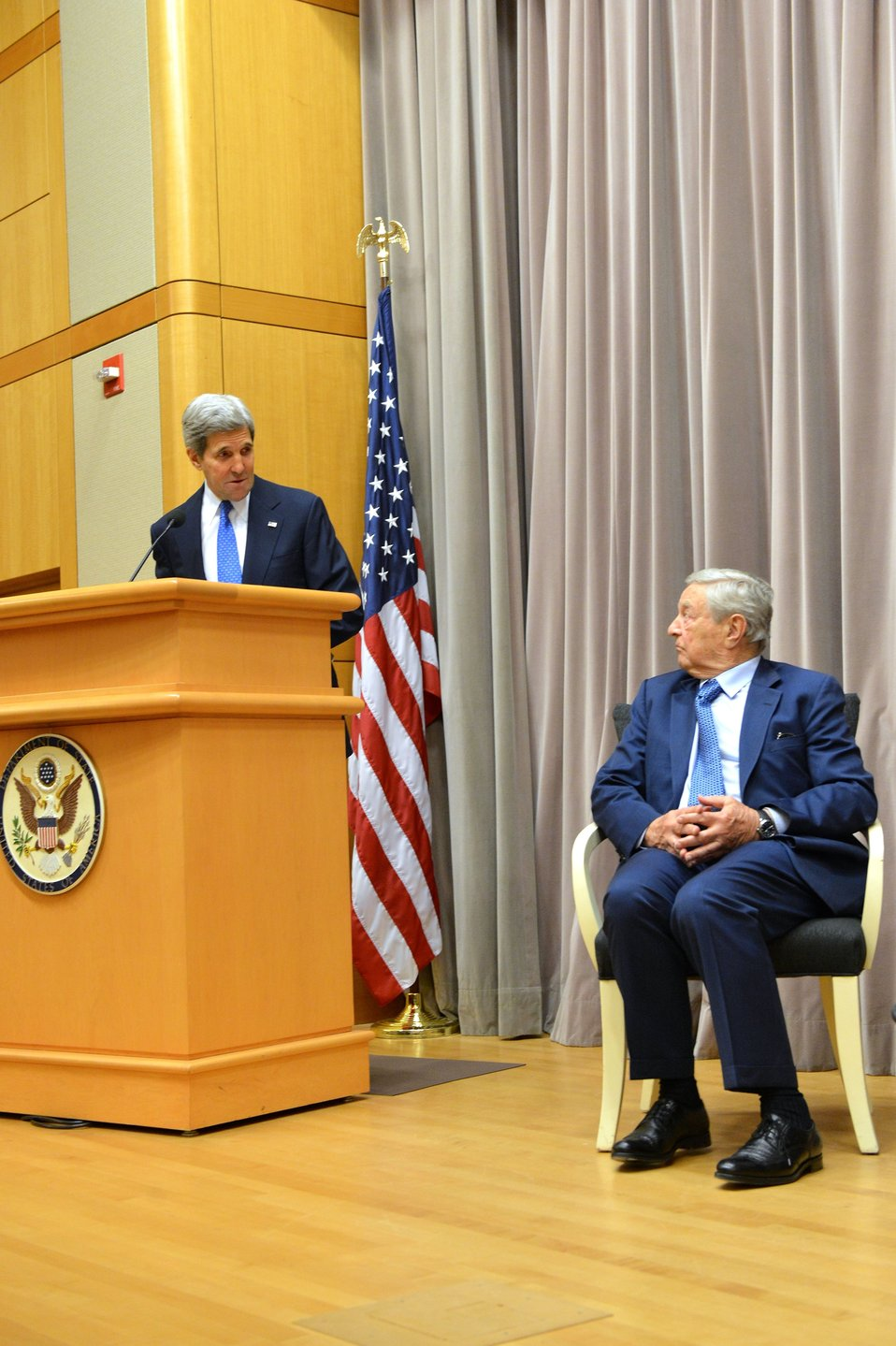 Secretary Kerry Introduces George Soros to the Open Forum