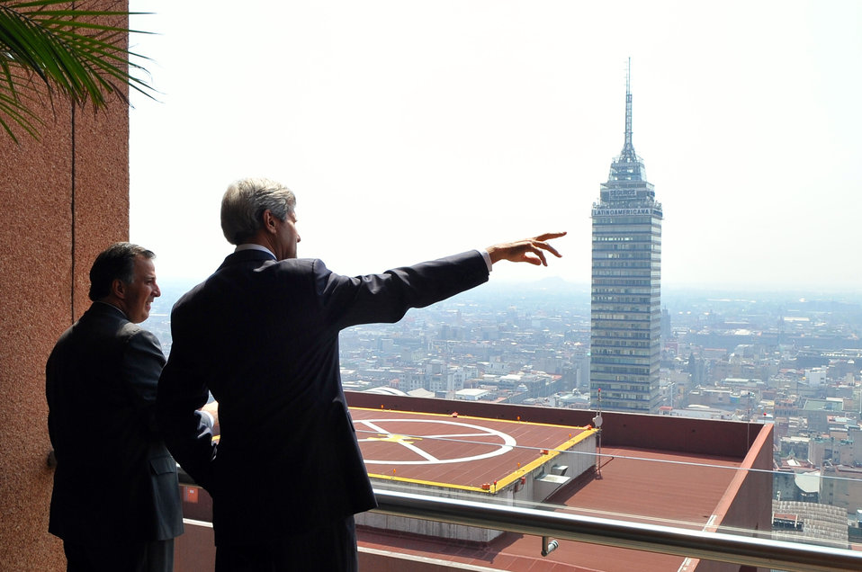 Secretary Kerry Admires Mexico City Landscape With Foreign Secretary Meade