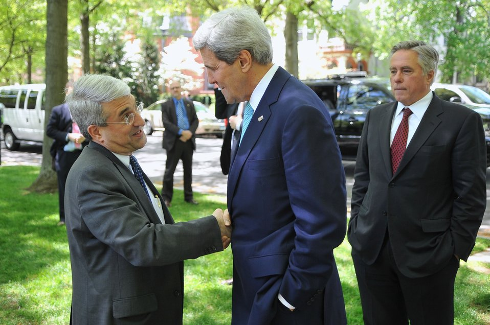 Yale University President Salovey Greets Secretary Kerry Arrives at Yale University
