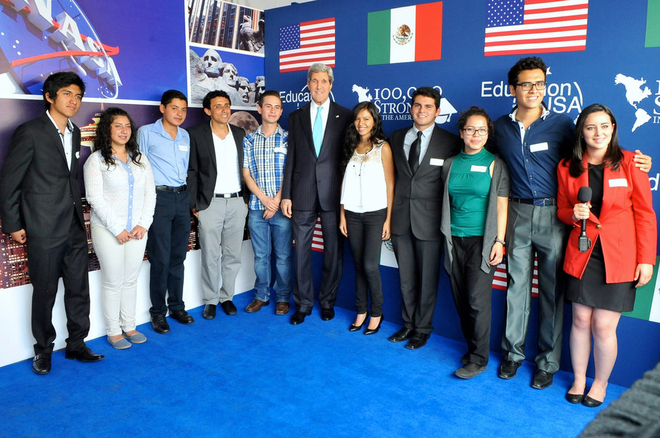 Secretary Kerry Poses With Students in Embassy-Supported Programs