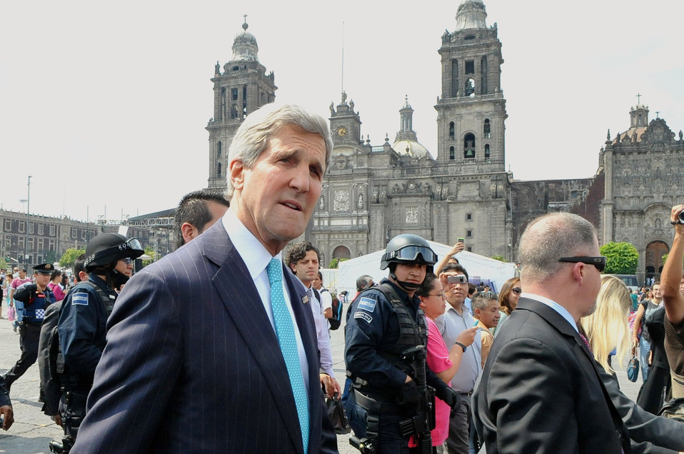 Secretary Kerry Walks Across Zocalo Plaza in Mexico City