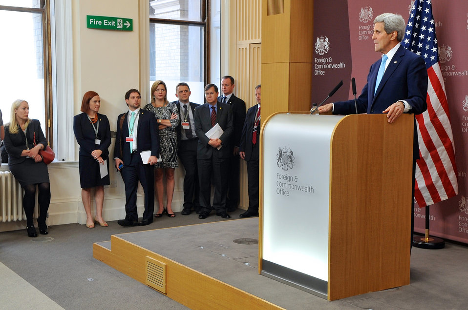 Secretary Kerry Holds News Conference in London
