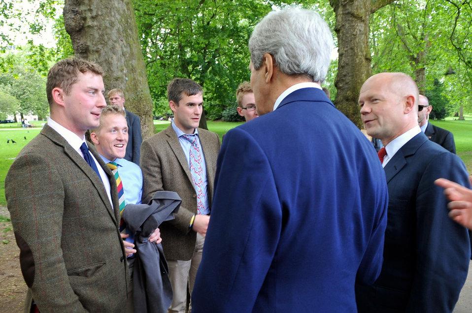 Secretaries Kerry, Hague Greet Group of British Soldiers During Walk in London