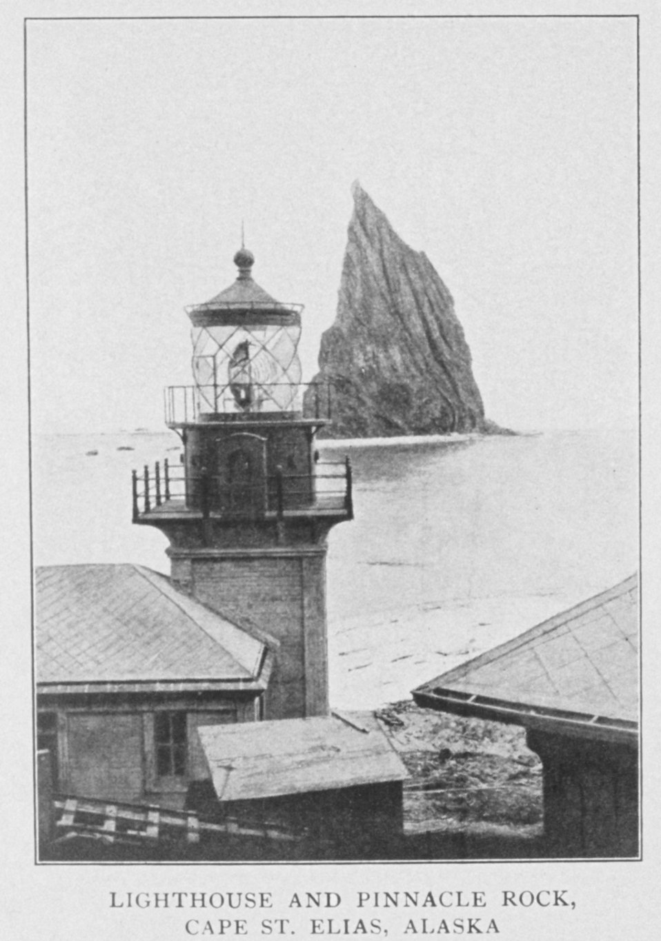 Lighthouse and Pinnacle Rock, Cape St. Elias, Alaska.  In: 'Lighthouses and Lightships of the United States' by George R. Putnam, p. 148,  1917.  Houghton Mifflin and Company, Boston.Library Call No. 527.7 P98.