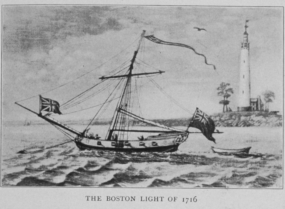 The Boston Light of 1716. In: 'Lighthouses and Lightships of the United States' by George R. Putnam, p. 6,  1917.  Houghton Mifflin and Company, Boston. Library Call No. 527.7 P98.