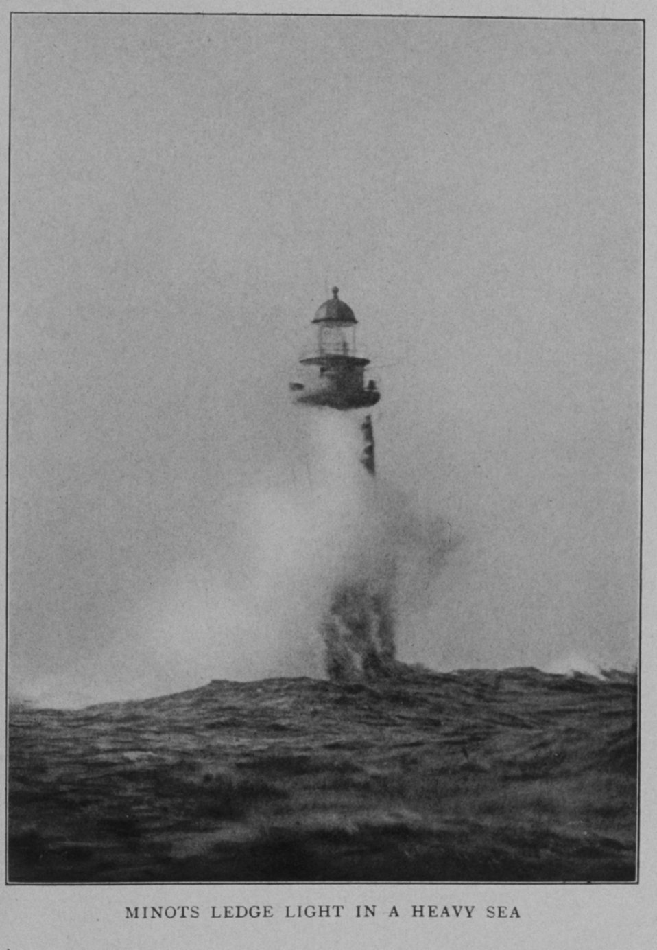 Minots Ledge Light in a heavy sea, off Boston Harbor. In: 'Lighthouses and Lightships of the United States' by George R. Putnam, 1917.  Houghton Mifflin and Company, Boston.  Frontispiece. Library Call No. 527.7 P98.