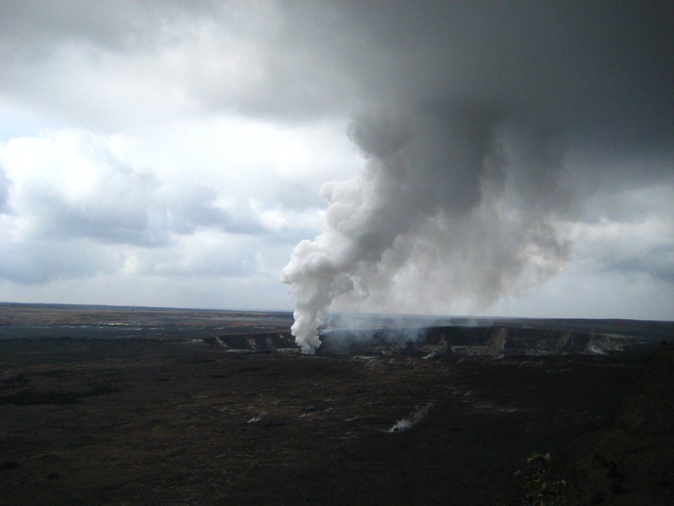 Halemaumau Crater within Kilauea Caldera at Hawaii Volcanoes National Park.