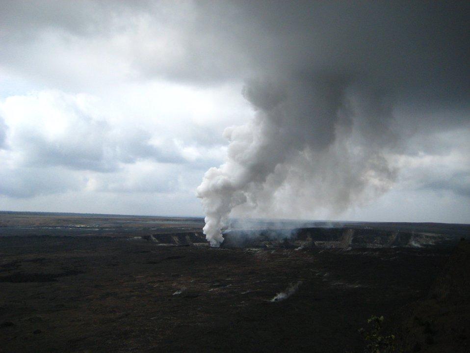 Halemaumau Crater within Kilauea Caldera at Hawaii Volcanoes National Park.