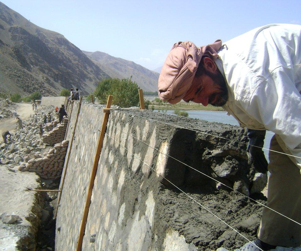 Kishim Fayzabad Stone Masonry Retaining Wall crop