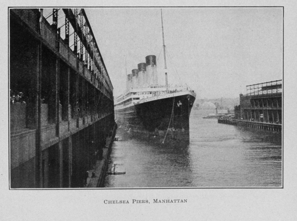Chelsea Piers, Manhattan.  This appears to be the OLYMPIC, a sister ship of the TITANIC.  In:  The Municipal Engineers Journal, Vol. 1, No. 5, November 1915. November 1915.  Library Call No. M 1270 F 419.