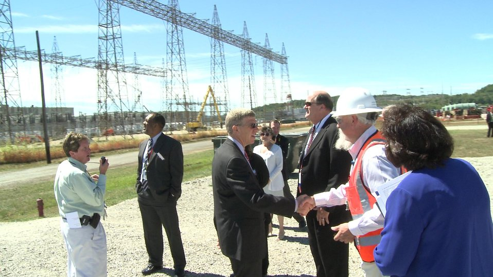 Deputy Secretary Daniel Poneman meets LATA/Parallax Field Operations Manager Steve Mee at the X-533 Electrical Switchyard DandD project well underway at the Portsmouth Site with Recovery Act funding.