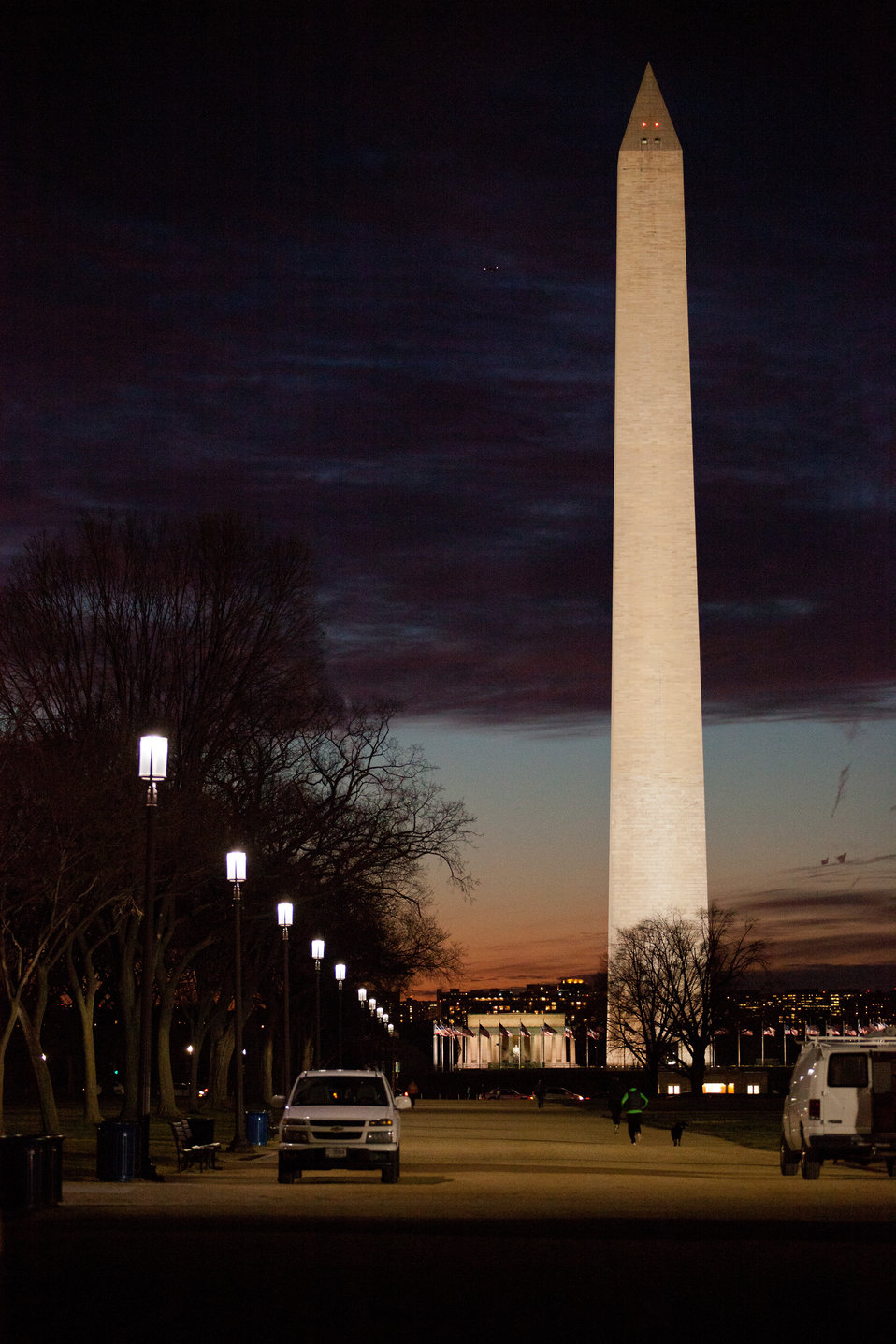 The Washington Monument with LED lighting int he foreground
