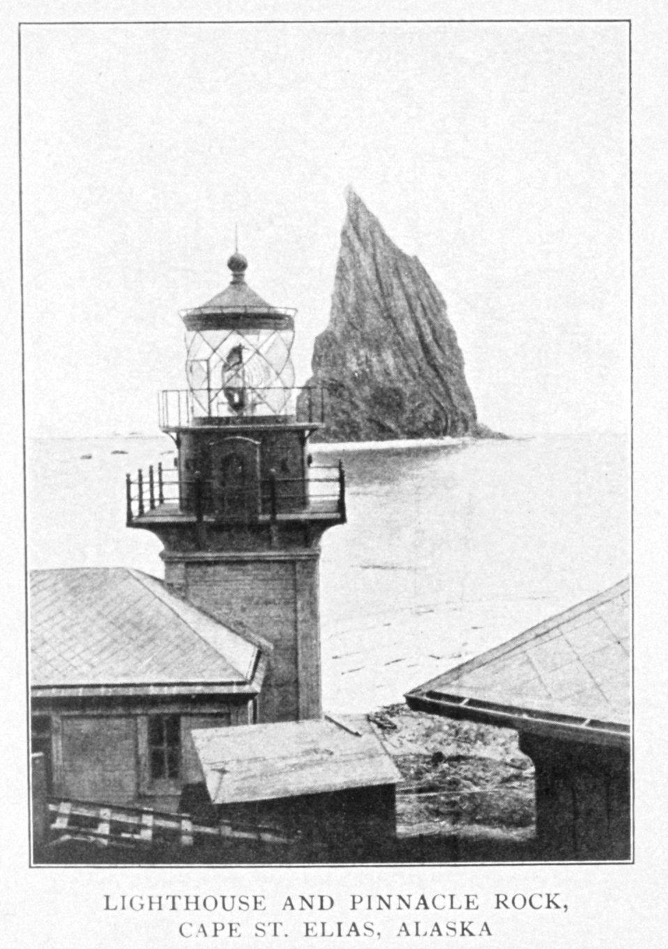 Lighthouse and Pinnacle Rock, Cape St. Elias, Alaska.  In: 'Lighthouses and Lightships of the United States' by George R. Putnam, p. 148,  1917.  Houghton Mifflin and Company, Boston. Library Call No. 527.7 P98.