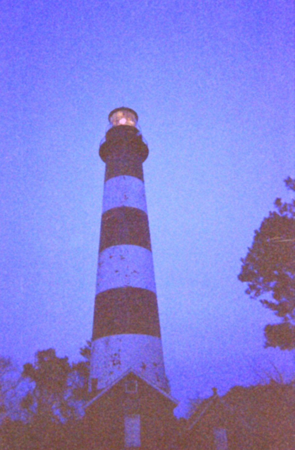 Assateague Light House at dusk, right after the light was turned on.