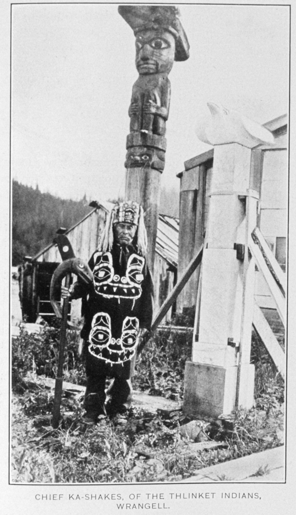 Chief Ka-Shakes of the Thlinket Indians, Wrangell.  In: 'Report of Alaska Investigations,' by E. Lester Jones, p. 102, 1914.  Department  of Commerce, Bureau of Fisheries.  Library Call No. 639: 945 J77.