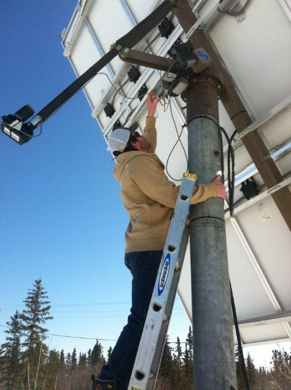 Repairing the tracking motor on a  PV array