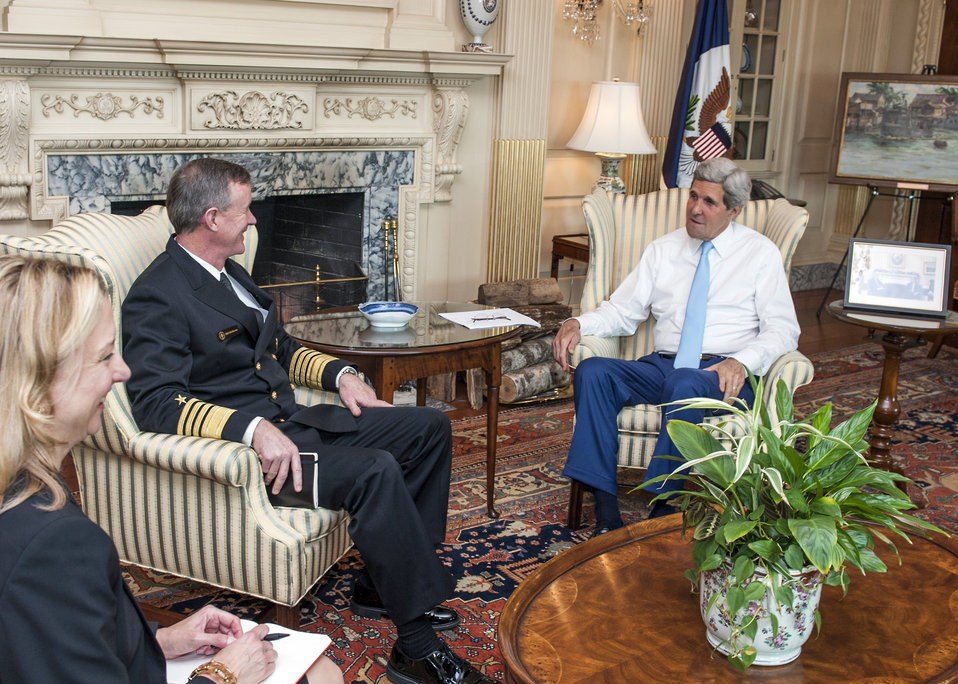 Secretary Kerry Meets With Admiral McRaven